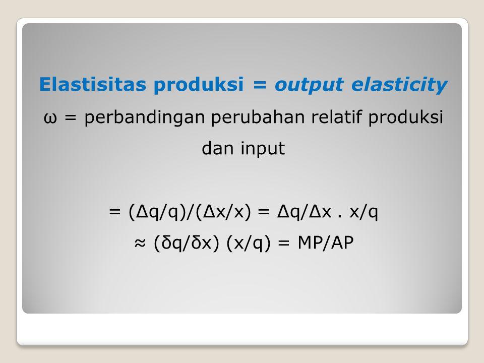 Elastisitas produksi = output elasticity ω = perbandingan perubahan relatif produksi dan input = (Δq/q)/(Δx/x) = Δq/Δx.