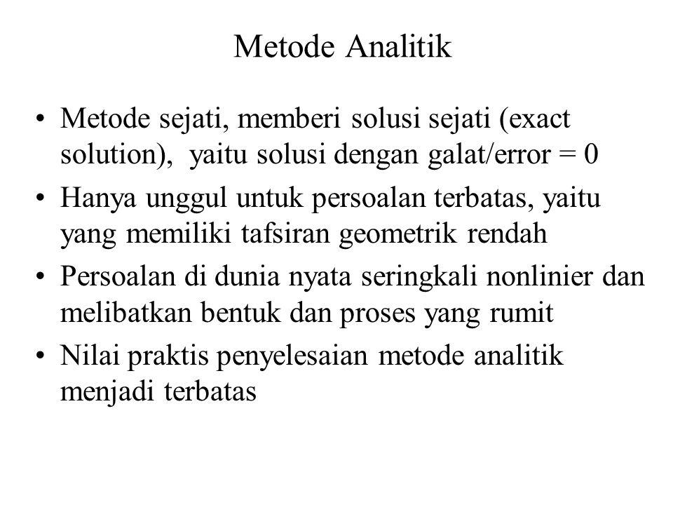 Metode Analitik Metode sejati, memberi solusi sejati (exact solution), yaitu solusi dengan galat/error = 0 Hanya unggul untuk persoalan terbatas, yait