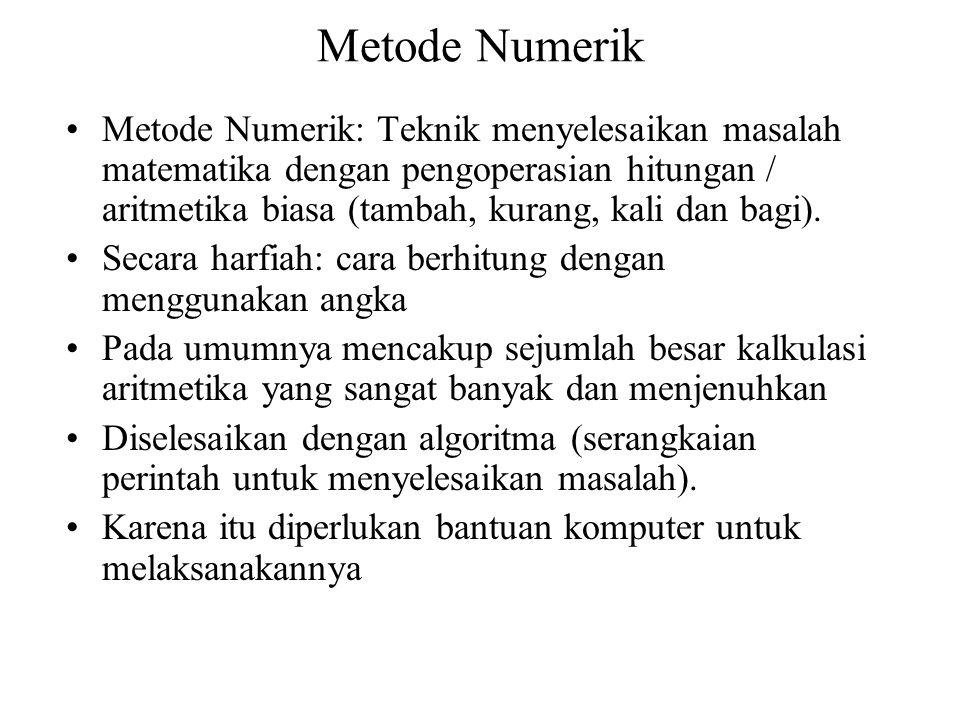 Metode Numerik Metode Numerik: Teknik menyelesaikan masalah matematika dengan pengoperasian hitungan / aritmetika biasa (tambah, kurang, kali dan bagi