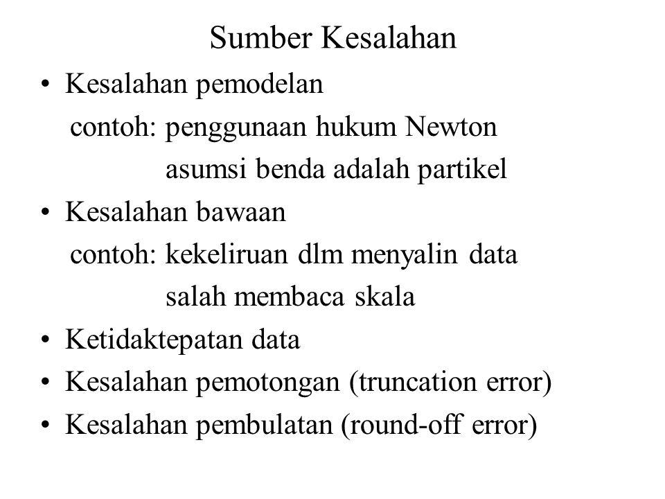 Sumber Kesalahan Kesalahan pemodelan contoh: penggunaan hukum Newton asumsi benda adalah partikel Kesalahan bawaan contoh: kekeliruan dlm menyalin dat