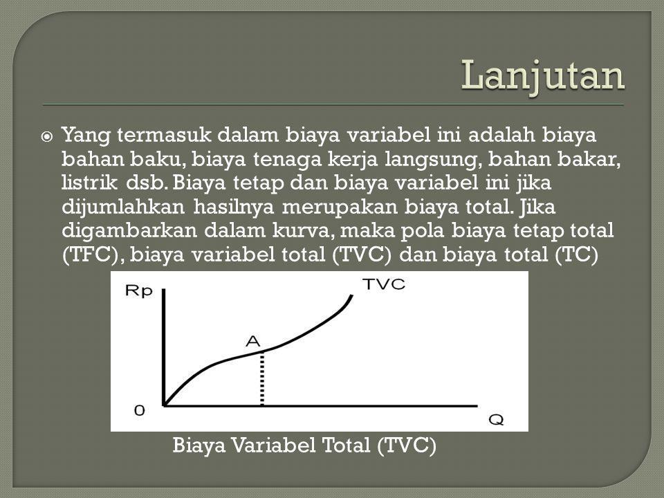  Yang termasuk dalam biaya variabel ini adalah biaya bahan baku, biaya tenaga kerja langsung, bahan bakar, listrik dsb. Biaya tetap dan biaya variabe