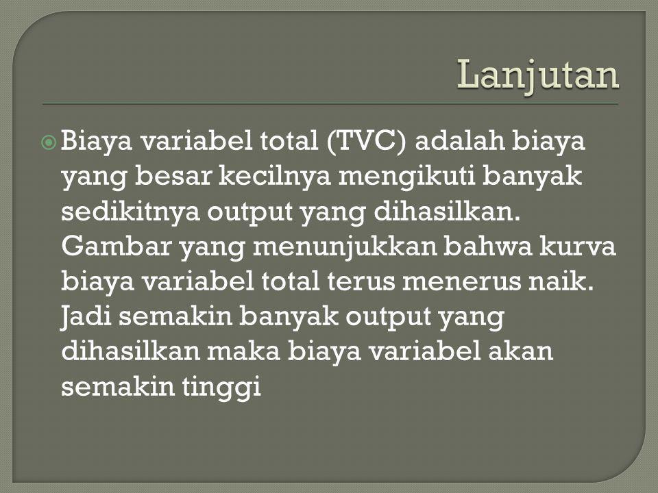  Biaya variabel total (TVC) adalah biaya yang besar kecilnya mengikuti banyak sedikitnya output yang dihasilkan. Gambar yang menunjukkan bahwa kurva