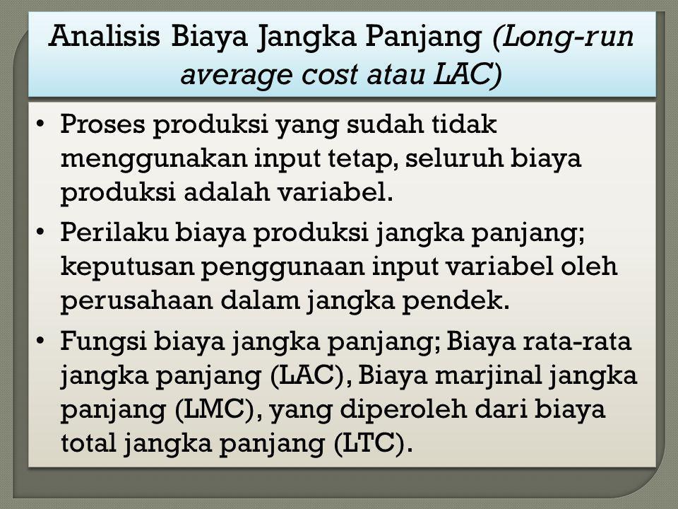 Analisis Biaya Jangka Panjang (Long-run average cost atau LAC) Proses produksi yang sudah tidak menggunakan input tetap, seluruh biaya produksi adalah