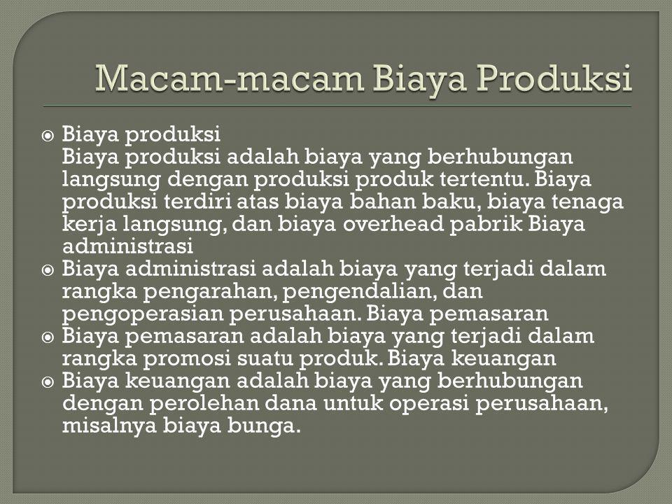  Biaya produksi Biaya produksi adalah biaya yang berhubungan langsung dengan produksi produk tertentu. Biaya produksi terdiri atas biaya bahan baku,