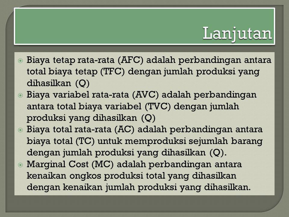  Biaya tetap rata-rata (AFC) adalah perbandingan antara total biaya tetap (TFC) dengan jumlah produksi yang dihasilkan (Q)  Biaya variabel rata-rata