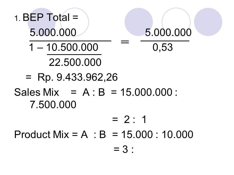 1. BEP Total = 5.000.000 1 – 10.500.000 0,53 22.500.000 = Rp. 9.433.962,26 Sales Mix = A : B = 15.000.000 : 7.500.000 = 2 : 1 Product Mix = A : B = 15