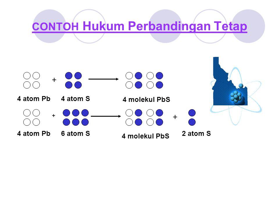 + 4 atom Pb4 atom S 4 molekul PbS 4 atom Pb + 6 atom S 4 molekul PbS + 2 atom S CONTOH Hukum Perbandingan Tetap