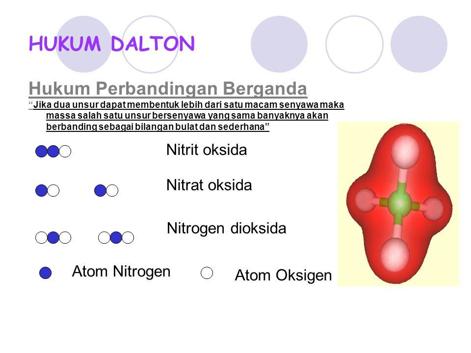 """HUKUM DALTON Hukum Perbandingan Berganda """"Jika dua unsur dapat membentuk lebih dari satu macam senyawa maka massa salah satu unsur bersenyawa yang sam"""