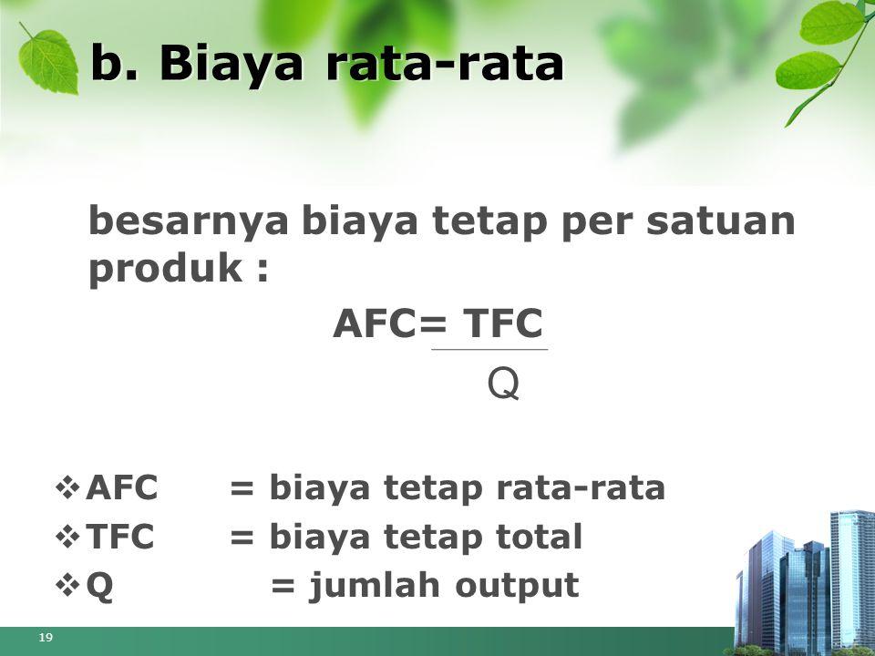 b. Biaya rata-rata besarnya biaya tetap per satuan produk : AFC= TFC Q  AFC= biaya tetap rata-rata  TFC= biaya tetap total  Q = jumlah output 19