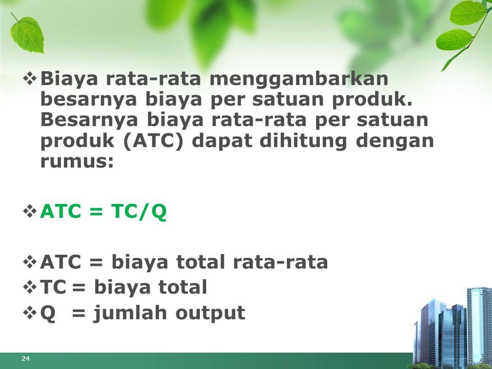  Biaya rata-rata menggambarkan besarnya biaya per satuan produk. Besarnya biaya rata-rata per satuan produk (ATC) dapat dihitung dengan rumus:  ATC