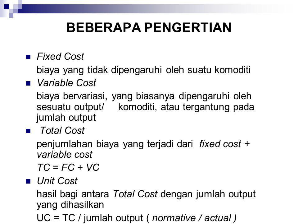 BEBERAPA PENGERTIAN Fixed Cost biaya yang tidak dipengaruhi oleh suatu komoditi Variable Cost biaya bervariasi, yang biasanya dipengaruhi oleh sesuatu