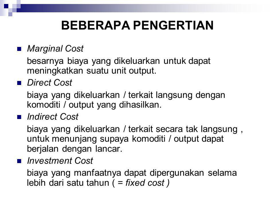 BEBERAPA PENGERTIAN Marginal Cost besarnya biaya yang dikeluarkan untuk dapat meningkatkan suatu unit output. Direct Cost biaya yang dikeluarkan / ter