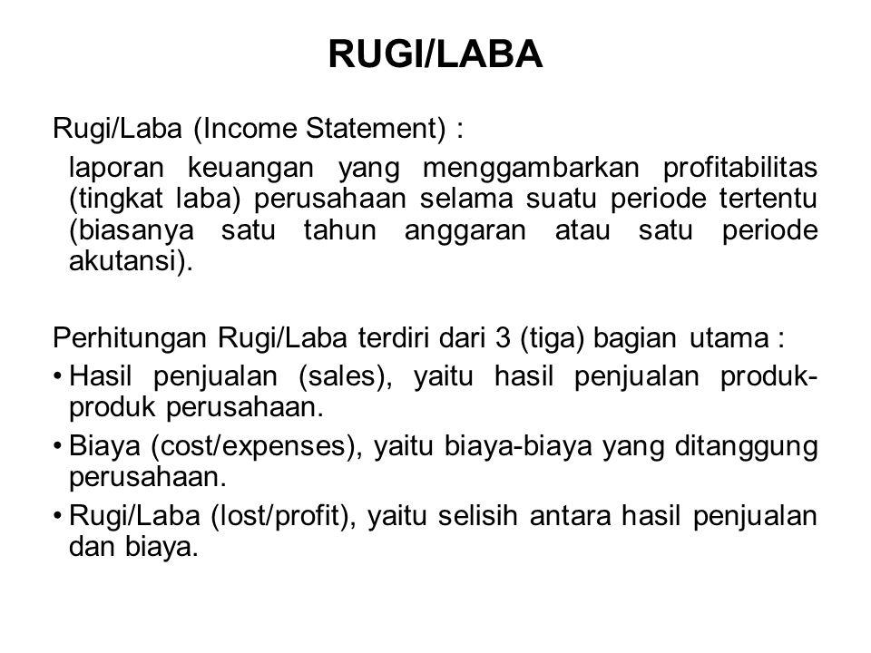 RUGI/LABA Rugi/Laba (Income Statement) : laporan keuangan yang menggambarkan profitabilitas (tingkat laba) perusahaan selama suatu periode tertentu (b