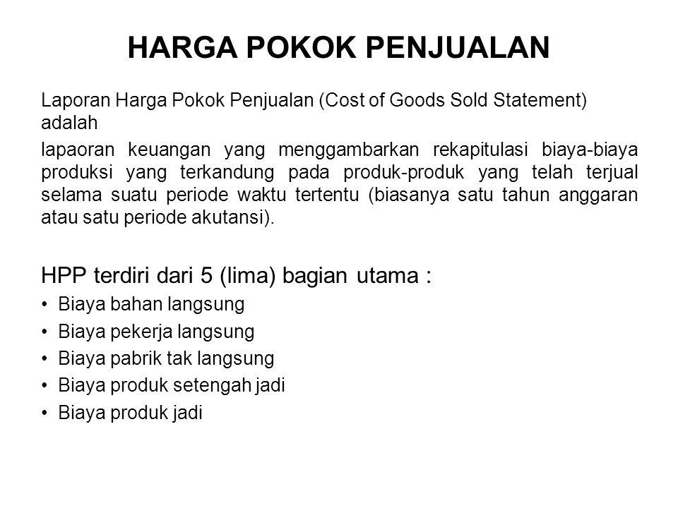 HARGA POKOK PENJUALAN Laporan Harga Pokok Penjualan (Cost of Goods Sold Statement) adalah lapaoran keuangan yang menggambarkan rekapitulasi biaya-biay