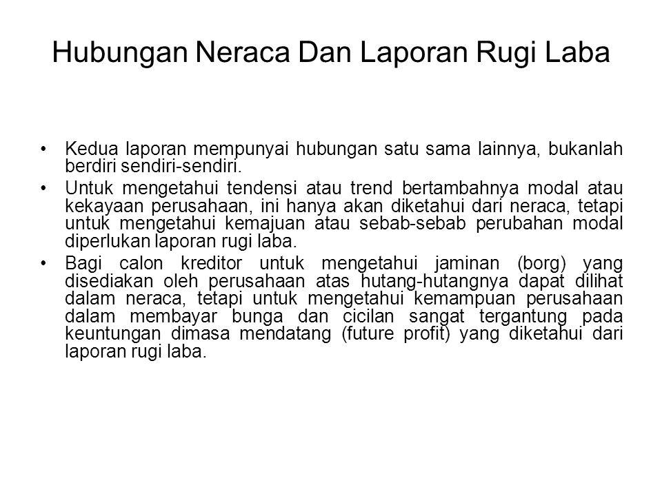 Hubungan Neraca Dan Laporan Rugi Laba Kedua laporan mempunyai hubungan satu sama lainnya, bukanlah berdiri sendiri-sendiri. Untuk mengetahui tendensi
