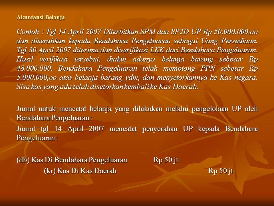 Akuntansi Belanja Contoh : Tgl 14 April 2007 Diterbitkan SPM dan SP2D UP Rp 50.000.000,oo dan diserahkan kepada Bendahara Pengeluaran sebagai Uang Per