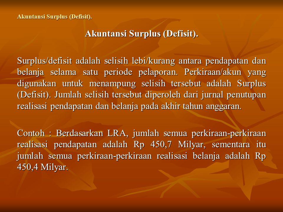 Akuntansi Surplus (Defisit). Surplus/defisit adalah selisih lebi/kurang antara pendapatan dan belanja selama satu periode pelaporan. Perkiraan/akun ya