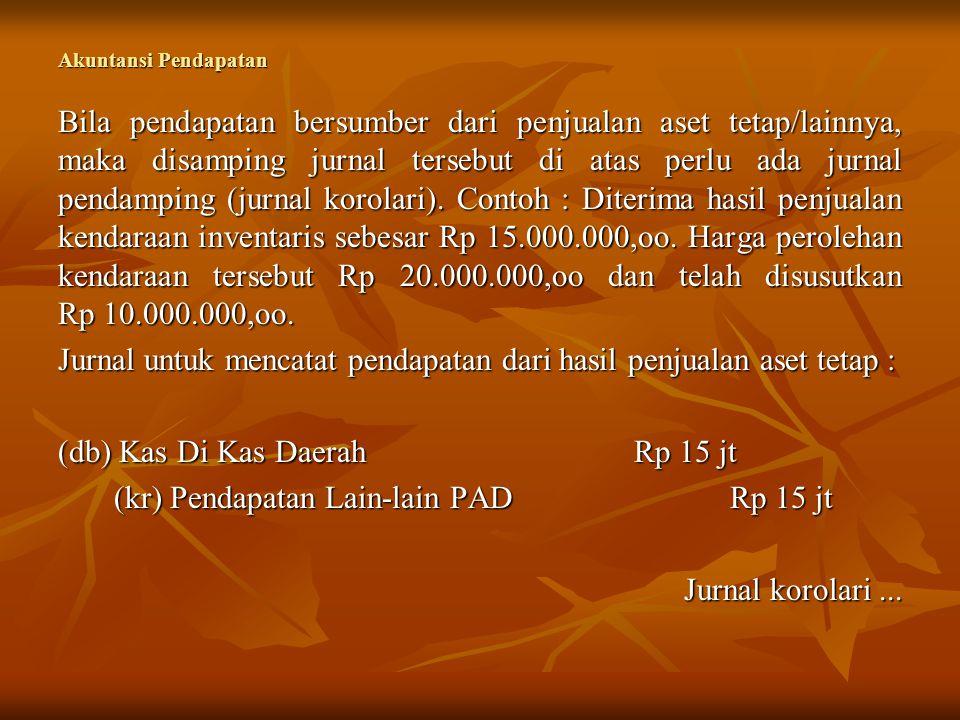 Akuntansi Pendapatan Jurnal korolari : (db) Diinvestasikan Dlm Aset TetapRp 10 jt (db) Akumulasi Penyusutan Aset TetapRp 10 jt (kr) Peralatan Dan MesinRp 20 jt Catatan : Penyusutan Aset Tetap dijelaskan dalam lampiran I, PP No 71 Tahun 2010 tentang Standar Akuntansi Pemerintahan.