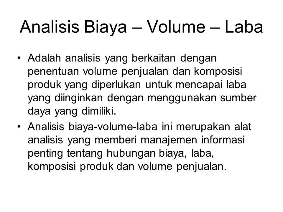 Analisis Biaya – Volume – Laba Adalah analisis yang berkaitan dengan penentuan volume penjualan dan komposisi produk yang diperlukan untuk mencapai la
