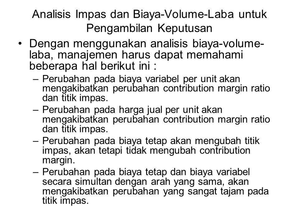 Analisis Impas dan Biaya-Volume-Laba untuk Pengambilan Keputusan Dengan menggunakan analisis biaya-volume- laba, manajemen harus dapat memahami bebera