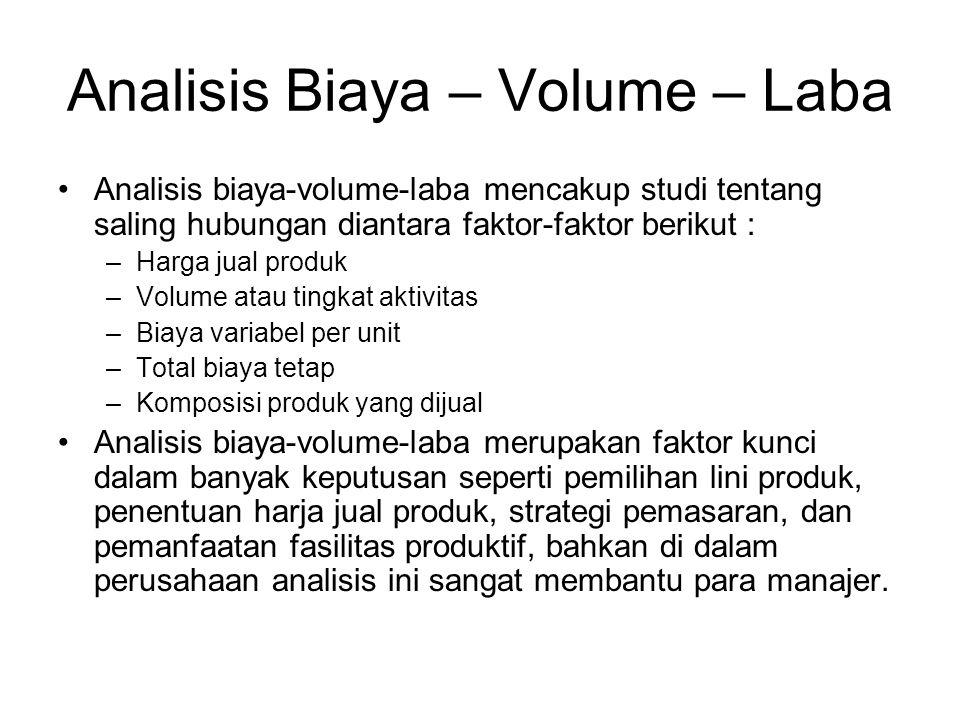 Analisis Biaya – Volume – Laba Analisis biaya-volume-laba mencakup studi tentang saling hubungan diantara faktor-faktor berikut : –Harga jual produk –