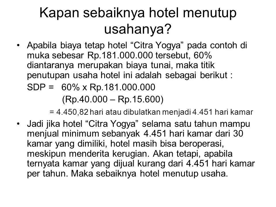 "Kapan sebaiknya hotel menutup usahanya? Apabila biaya tetap hotel ""Citra Yogya"" pada contoh di muka sebesar Rp.181.000.000 tersebut, 60% diantaranya m"