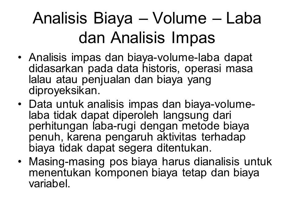 Analisis Biaya – Volume – Laba dan Analisis Impas Analisis impas dan biaya-volume-laba dapat didasarkan pada data historis, operasi masa lalau atau pe
