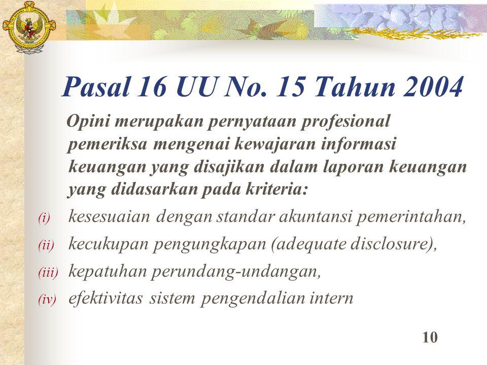 Pasal 16 UU No. 15 Tahun 2004 Opini merupakan pernyataan profesional pemeriksa mengenai kewajaran informasi keuangan yang disajikan dalam laporan keua