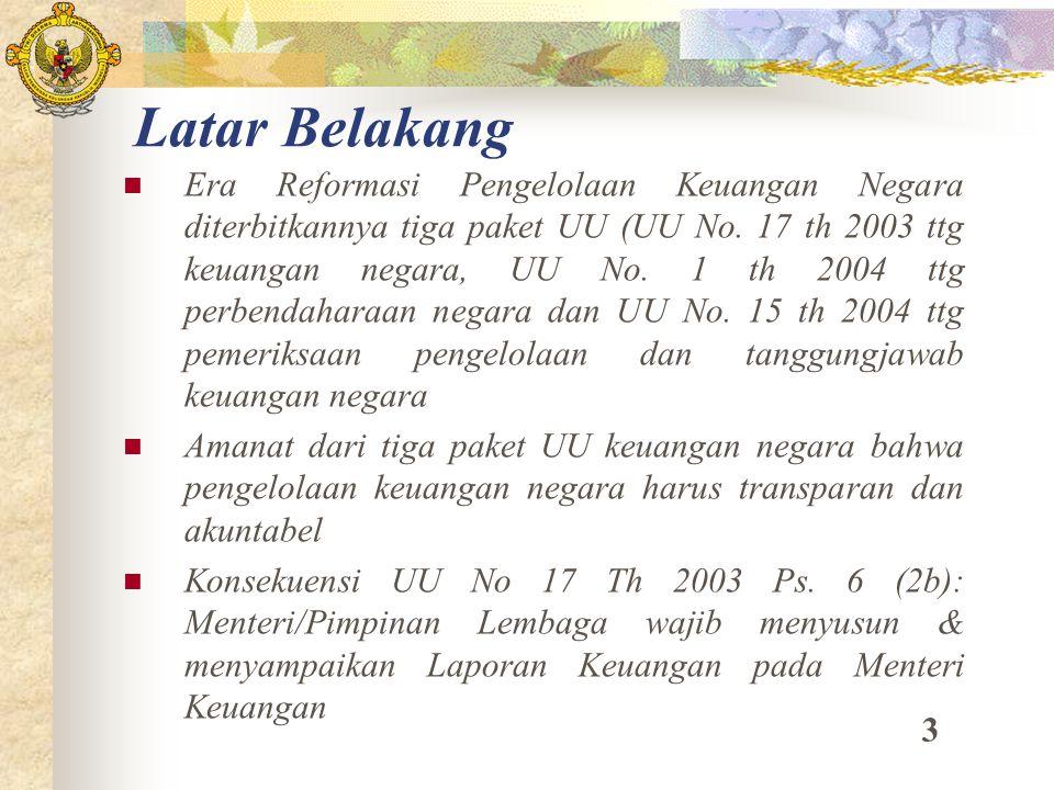 Latar Belakang Era Reformasi Pengelolaan Keuangan Negara diterbitkannya tiga paket UU (UU No. 17 th 2003 ttg keuangan negara, UU No. 1 th 2004 ttg per