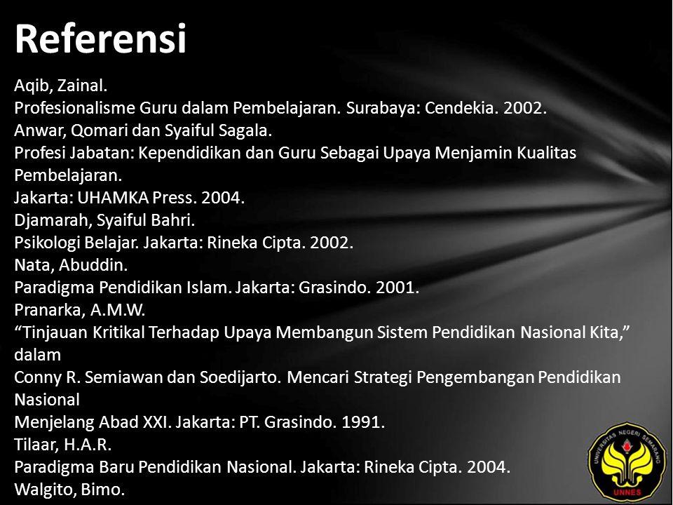 Referensi Aqib, Zainal. Profesionalisme Guru dalam Pembelajaran. Surabaya: Cendekia. 2002. Anwar, Qomari dan Syaiful Sagala. Profesi Jabatan: Kependid