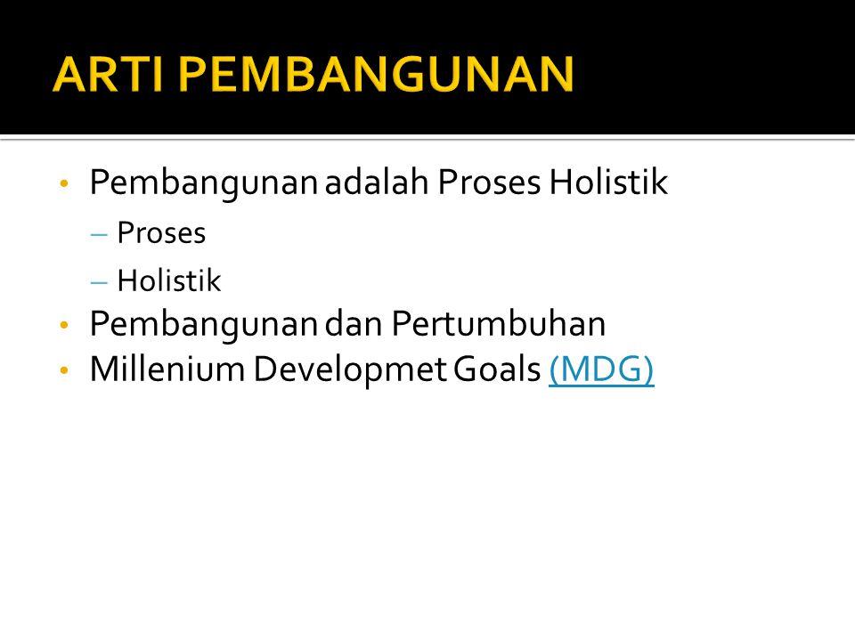 Pembangunan adalah Proses Holistik – Proses – Holistik Pembangunan dan Pertumbuhan Millenium Developmet Goals (MDG)(MDG)