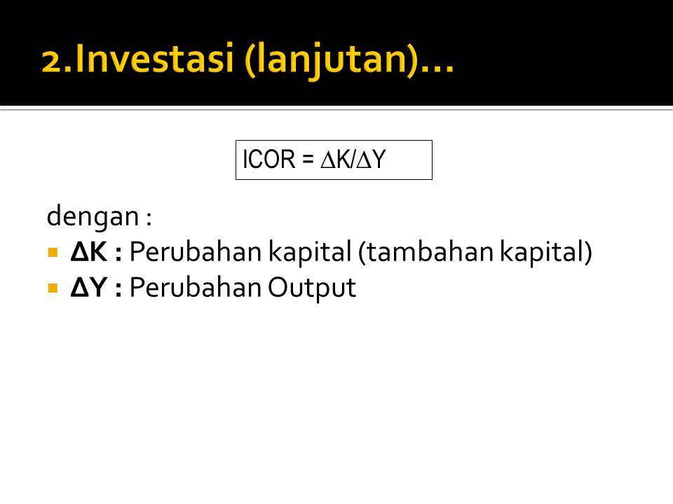 dengan :  ∆K : Perubahan kapital (tambahan kapital)  ∆Y : Perubahan Output ICOR = ∆ K/ ∆ Y