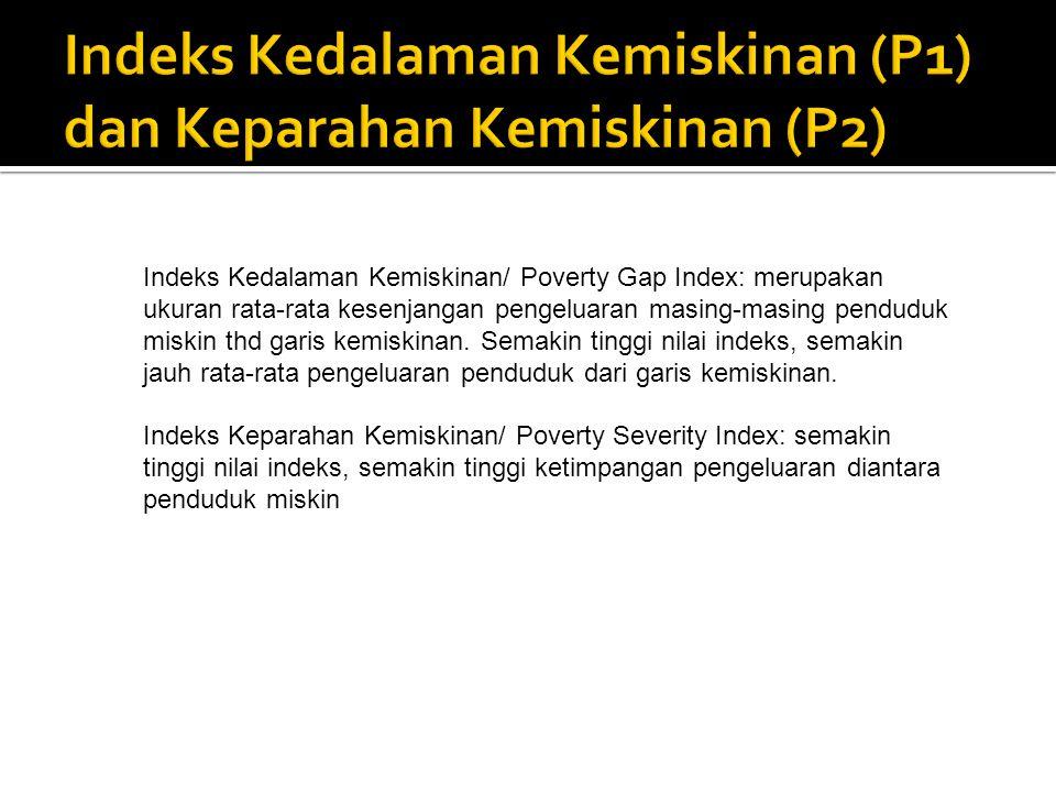 Indeks Kedalaman Kemiskinan/ Poverty Gap Index: merupakan ukuran rata-rata kesenjangan pengeluaran masing-masing penduduk miskin thd garis kemiskinan.