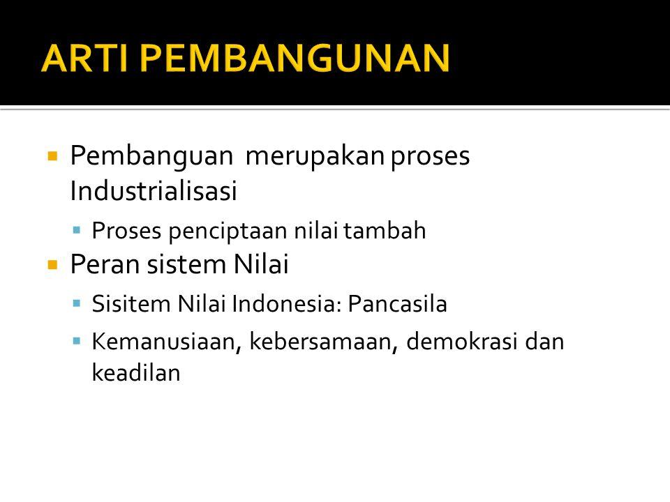  Pembanguan merupakan proses Industrialisasi  Proses penciptaan nilai tambah  Peran sistem Nilai  Sisitem Nilai Indonesia: Pancasila  Kemanusiaan, kebersamaan, demokrasi dan keadilan