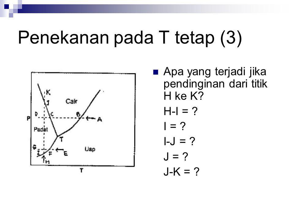 Penekanan pada T tetap (3) Apa yang terjadi jika pendinginan dari titik H ke K? H-I = ? I = ? I-J = ? J = ? J-K = ?