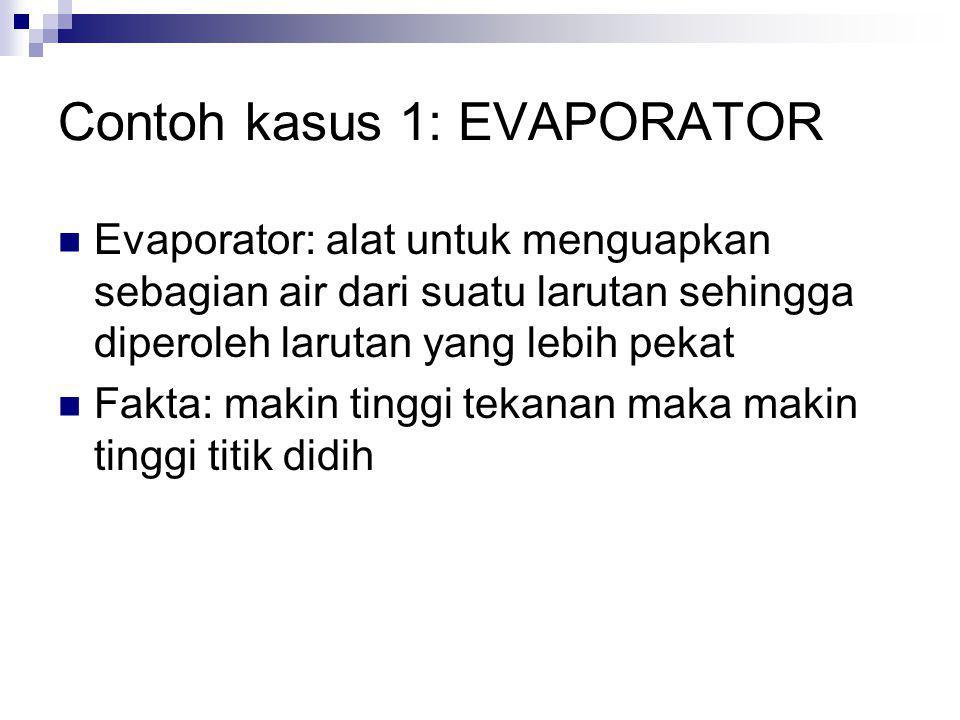 Contoh kasus 1: EVAPORATOR Evaporator: alat untuk menguapkan sebagian air dari suatu larutan sehingga diperoleh larutan yang lebih pekat Fakta: makin