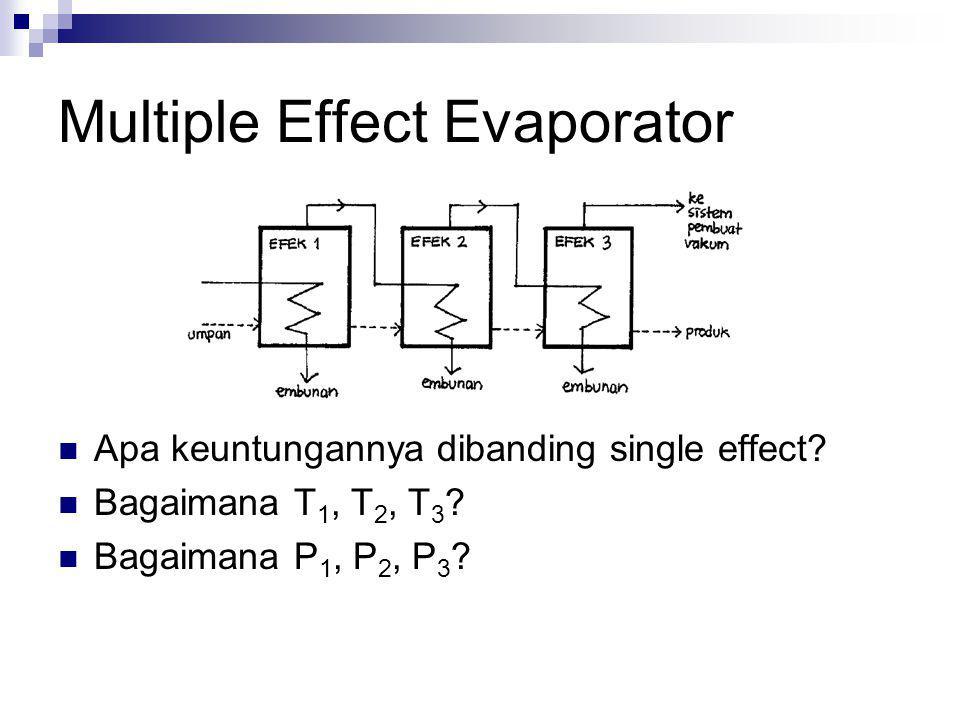 Multiple Effect Evaporator Apa keuntungannya dibanding single effect? Bagaimana T 1, T 2, T 3 ? Bagaimana P 1, P 2, P 3 ?