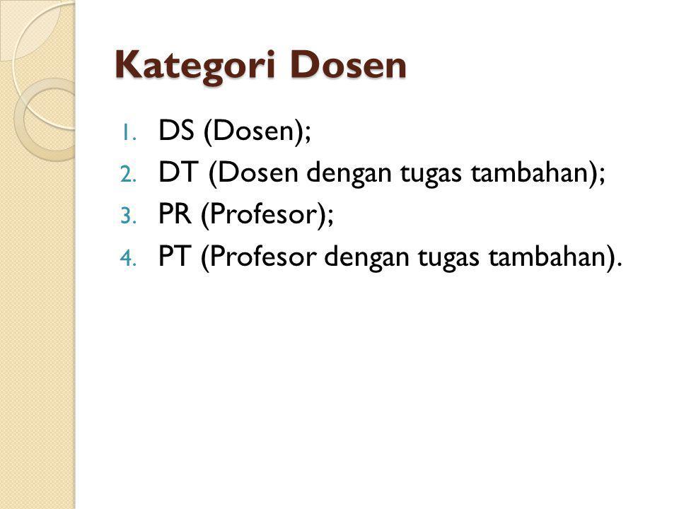 Kategori Dosen 1. DS (Dosen); 2. DT (Dosen dengan tugas tambahan); 3. PR (Profesor); 4. PT (Profesor dengan tugas tambahan).