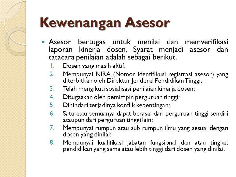 Kewenangan Asesor Asesor bertugas untuk menilai dan memverifikasi laporan kinerja dosen. Syarat menjadi asesor dan tatacara penilaian adalah sebagai b