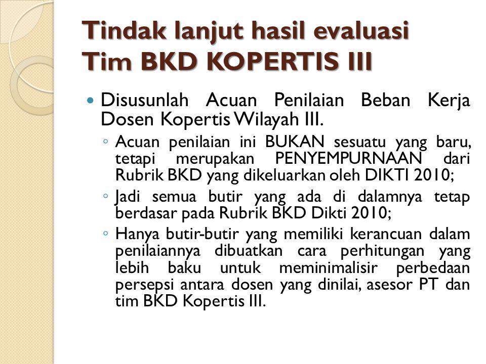 Tindak lanjut hasil evaluasi Tim BKD KOPERTIS III Disusunlah Acuan Penilaian Beban Kerja Dosen Kopertis Wilayah III.