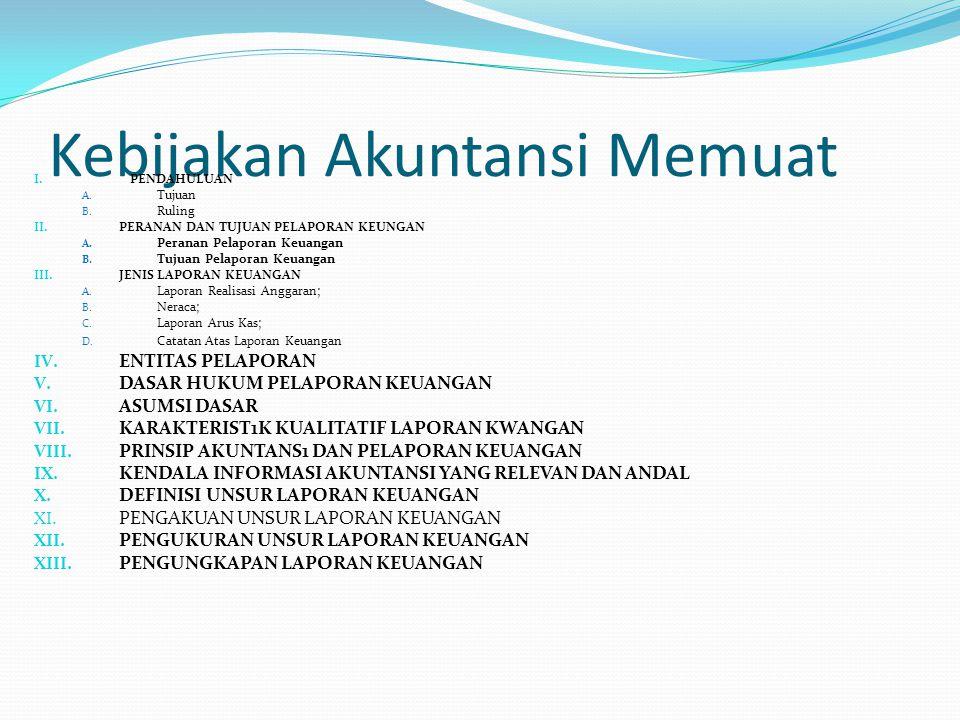 Kebijakan Akuntansi Memuat I. PENDAHULUAN A. Tujuan B. Ruling II. PERANAN DAN TUJUAN PELAPORAN KEUNGAN A. Peranan Pelaporan Keuangan B. Tujuan Pelapor