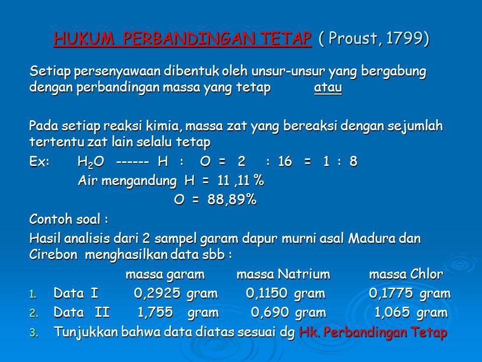 HUKUM PERBANDINGAN TETAP ( Proust, 1799) Setiap persenyawaan dibentuk oleh unsur-unsur yang bergabung dengan perbandingan massa yang tetap atau Pada setiap reaksi kimia, massa zat yang bereaksi dengan sejumlah tertentu zat lain selalu tetap Ex: H 2 O ------ H : O = 2 : 16 = 1 : 8 Air mengandung H = 11,11 % O = 88,89% Contoh soal : Hasil analisis dari 2 sampel garam dapur murni asal Madura dan Cirebon menghasilkan data sbb : massa garam massa Natrium massa Chlor 1.