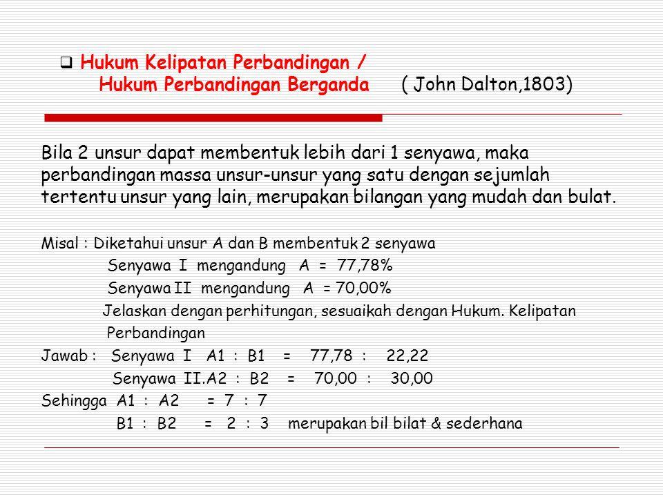  Hukum Kelipatan Perbandingan / Hukum Perbandingan Berganda ( John Dalton,1803) Bila 2 unsur dapat membentuk lebih dari 1 senyawa, maka perbandingan massa unsur-unsur yang satu dengan sejumlah tertentu unsur yang lain, merupakan bilangan yang mudah dan bulat.