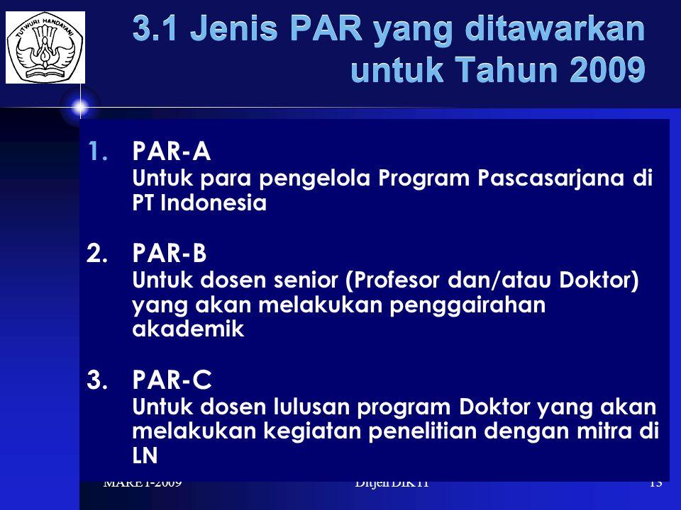 MARET-2009Ditjen DIKTI13 3.1 Jenis PAR yang ditawarkan untuk Tahun 2009 1.PAR-A Untuk para pengelola Program Pascasarjana di PT Indonesia 2.PAR-B Untuk dosen senior (Profesor dan/atau Doktor) yang akan melakukan penggairahan akademik 3.PAR-C Untuk dosen lulusan program Doktor yang akan melakukan kegiatan penelitian dengan mitra di LN