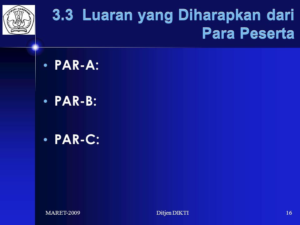 MARET-2009Ditjen DIKTI16 3.3 Luaran yang Diharapkan dari Para Peserta PAR-A: PAR-B: PAR-C: