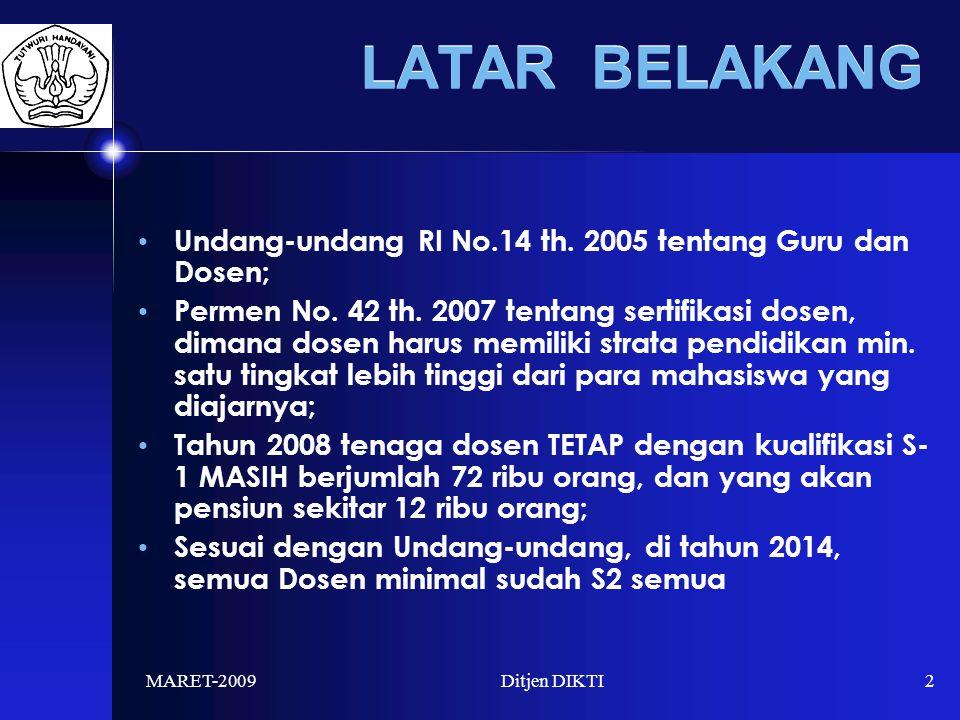 MARET-2009Ditjen DIKTI2 LATAR BELAKANG Undang-undang RI No.14 th.
