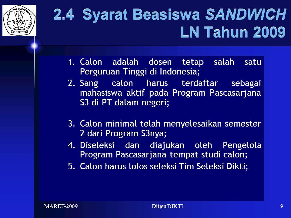 MARET-2009Ditjen DIKTI9 2.4 Syarat Beasiswa SANDWICH LN Tahun 2009 1.