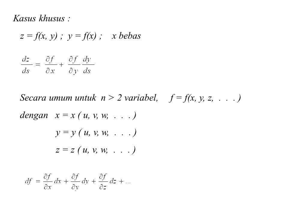 Kasus khusus : z = f(x, y) ; y = f(x) ; x bebas Secara umum untuk n > 2 variabel, f = f(x, y, z,... ) dengan x = x ( u, v, w,... ) y = y ( u, v, w,...