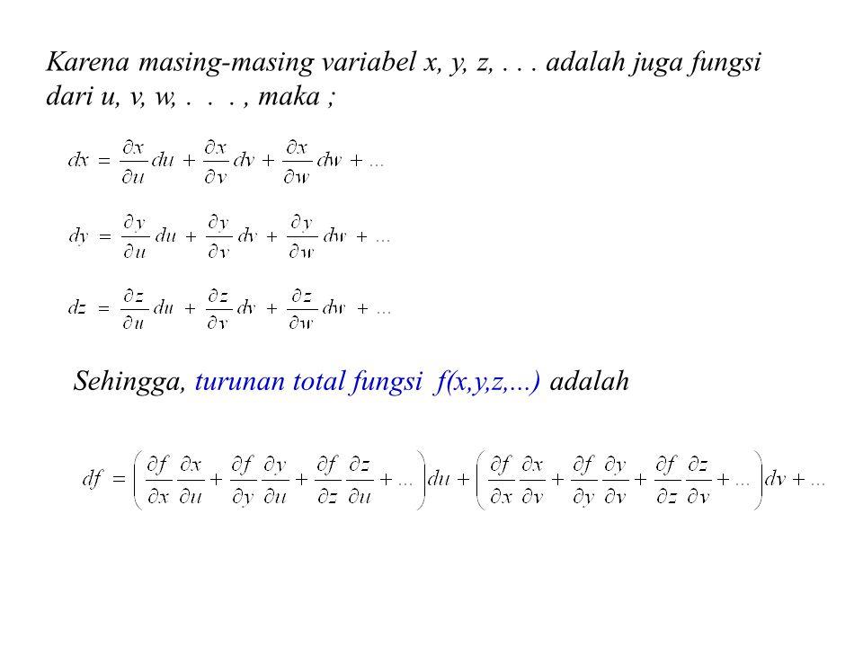 Karena masing-masing variabel x, y, z,... adalah juga fungsi dari u, v, w,..., maka ; Sehingga, turunan total fungsi f(x,y,z,...) adalah