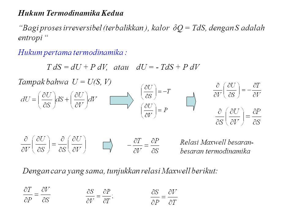 """Hukum Termodinamika Kedua """"Bagi proses irreversibel (terbalikkan ), kalor δQ = TdS, dengan S adalah entropi """" Hukum pertama termodinamika : T dS = dU"""